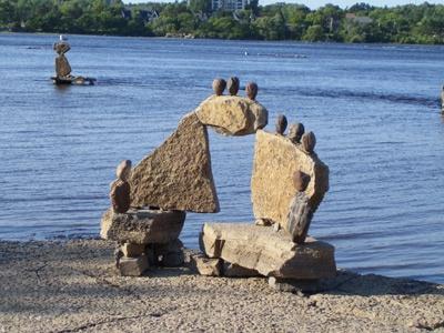 Inukshuk on Ottawa River, Ontario