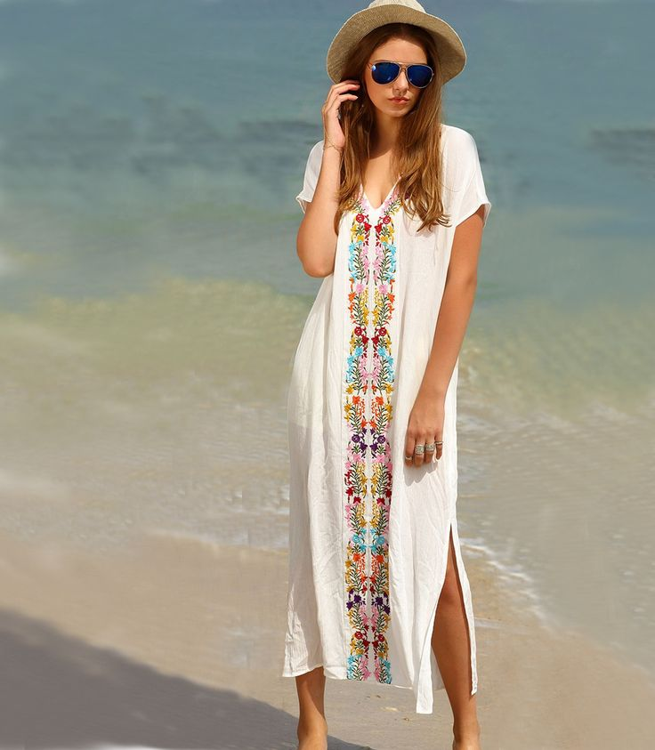 Saida De Praia Kaftan Beach Swimwear Cover Up Women Pareos For New Embroidered Dress Short Long Sleeve Cangas Salidas Playa Moda