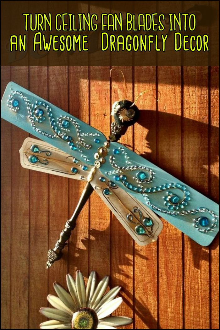 Let giant dragonflies invade your yard by upcycling old ceiling fan blades!