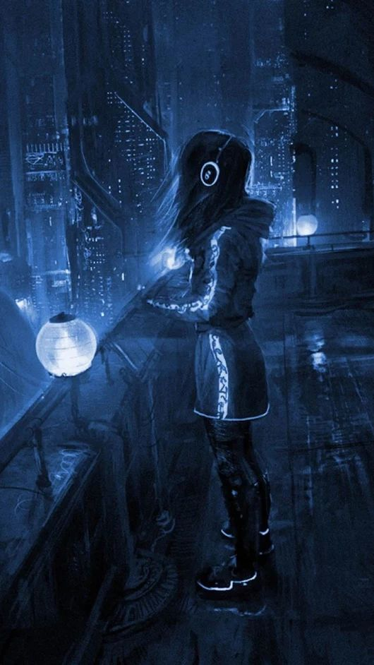 Girl on the roof of a future city, #cyberpunk #scifi scene inspiration