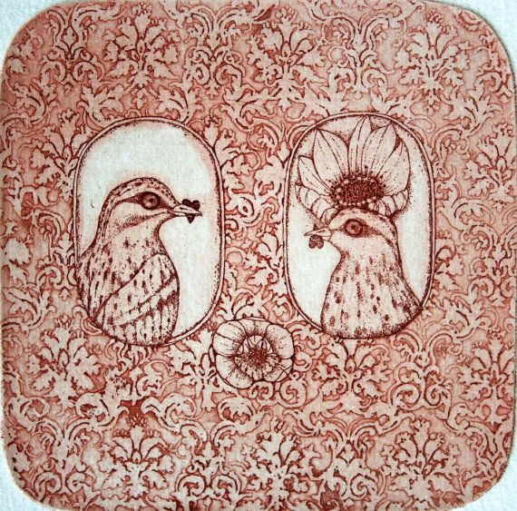 He and She      original etching by GrazvydaArt on Etsy,
