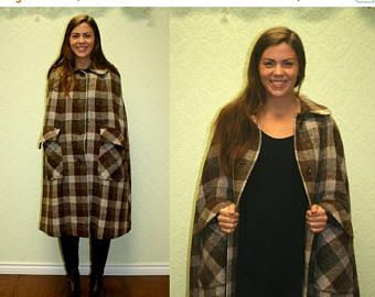 ON SALE 20% off vintage plaid wool cape 1960s 1970s Raymond of London brown and white tartan long wool quality tailored