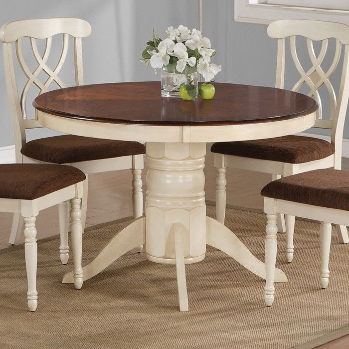 Pedestal Dining Table In Buttermilk With A Dark Cherry Finished Surface Product TableConstruction Material WoodColor And