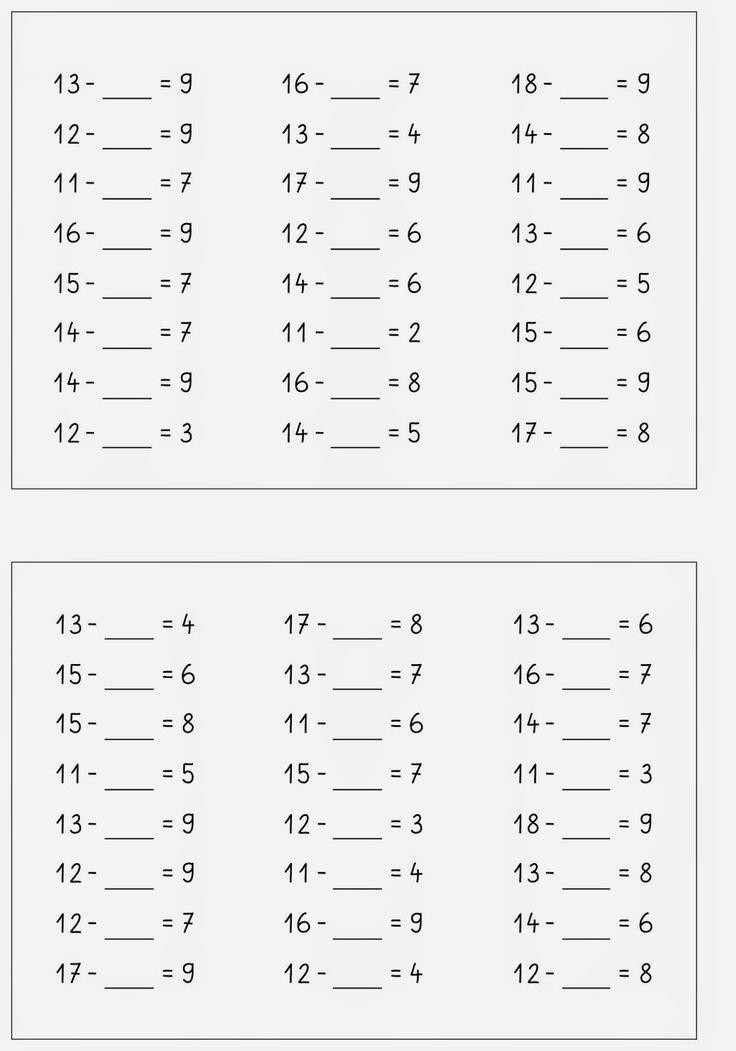 Lernstübchen: Rechne dich fit Kartei ZR 20 minus (1)