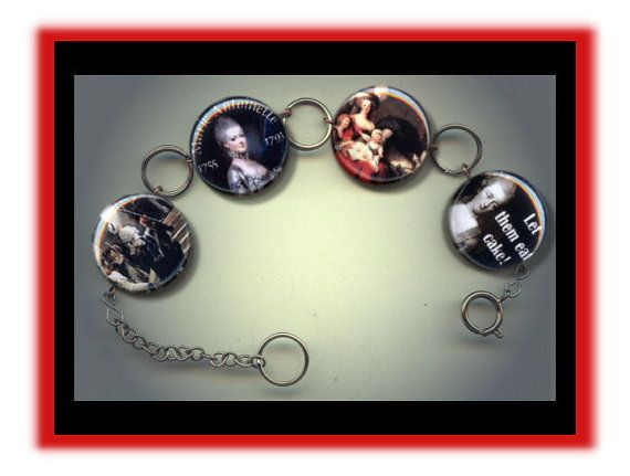 CHARM BRACELET with inset Rhinestone back  Hand Made Altered Art Photo Jewelry    This charm bracelet measures 8 inches long and is fully adjustable with a silver plated extension chain and lobster clasp closure.  Each of the four hand pressed charms measure one inch across and are uniquely finished with a multi-faceted sparkling acrylic Rhinestone inset securely in the back...making the bracelet actually reversible! (sample photo of the back is shown above also).    The images are photo…