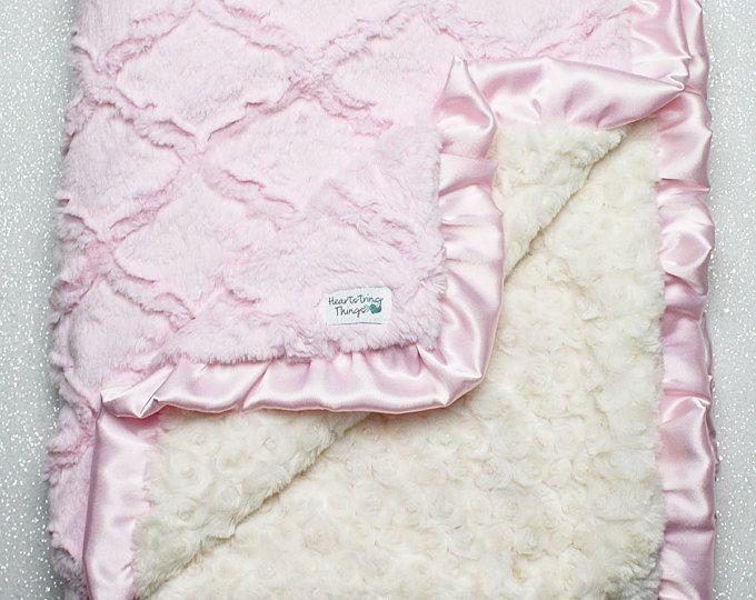 Benutzerdefinierte Minky Decke Rosa Und Grau Gitter Decke Etsy