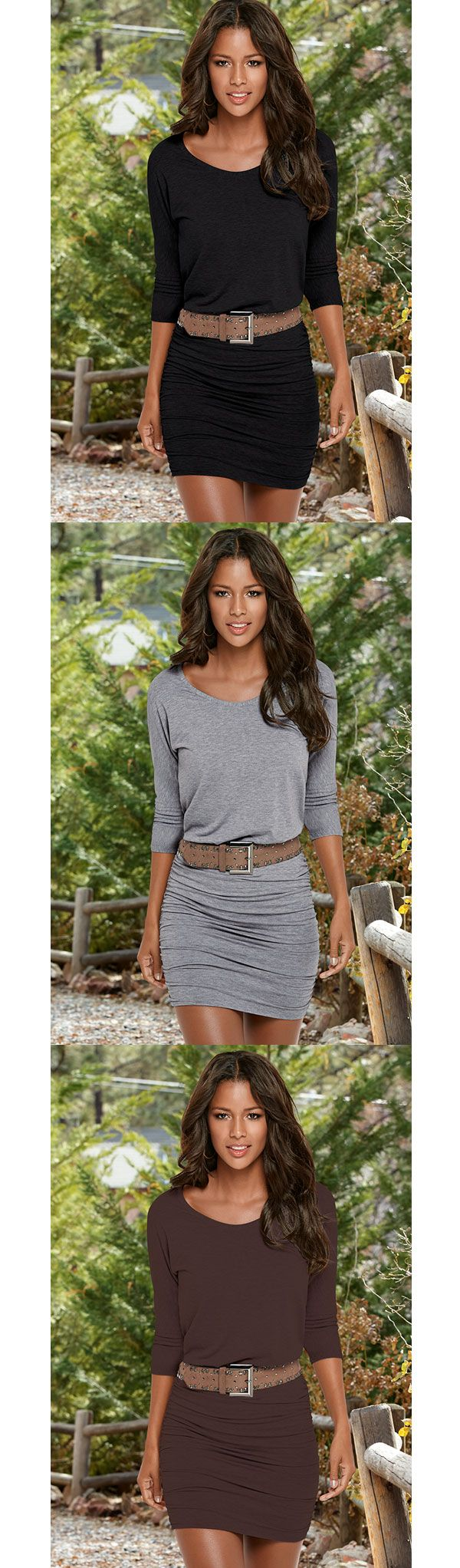 The fall basic in three perfect colors. Venus ruched detail dress with stud detail belt.