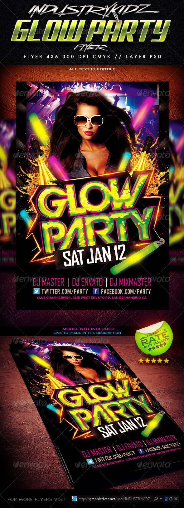 Glow Party Flyer Template - Clubs & Parties Events Download here: https://graphicriver.net/item/glow-party-flyer-template/3721409?ref=classicdesignp