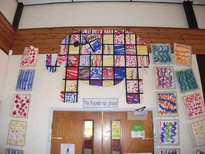 Patchwork Elmer Display, classroom display, class display, Story, Elmer, Elephant, colour, reading, book, Early Years (EYFS), KS1 & KS2 Primary Resources