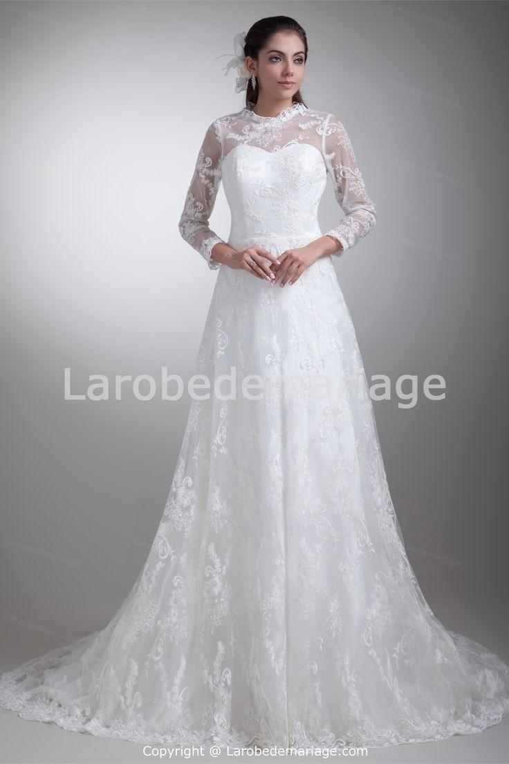 Robe de mariée simple en satin et en dentelle col montant 2014 -Robe ...