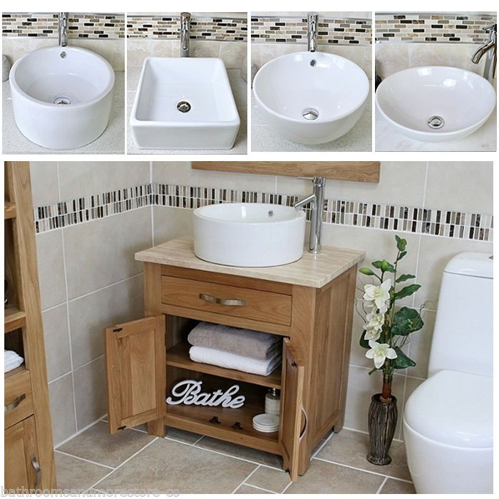 Bathroom Vanity Unit Oak Cabinet Wash Stand Travertine & White Ceramic Basin 502 | eBay
