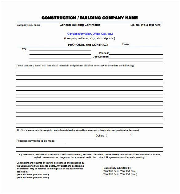 20 Contractor Proposal Template Free In 2020 Proposal