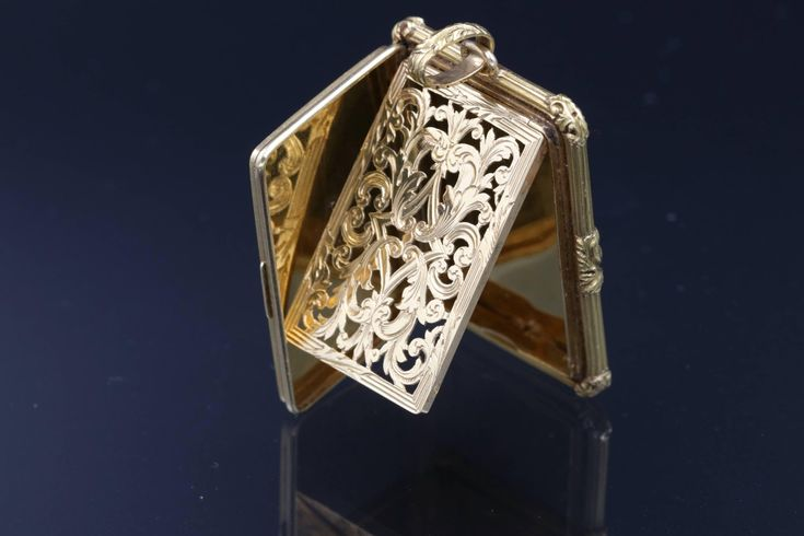 Early 19th Century Gold and Enamel Parisian Vinaigrette Pendant | From a unique collection of vintage enamel frames and objects at https://www.1stdibs.com/jewelry/objets-dart-vertu/enamel-frames-objects/