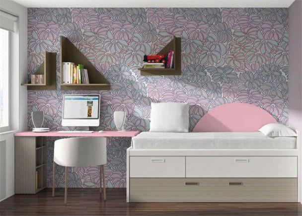 Dormitorio infantil con mueble compacto asimétrico