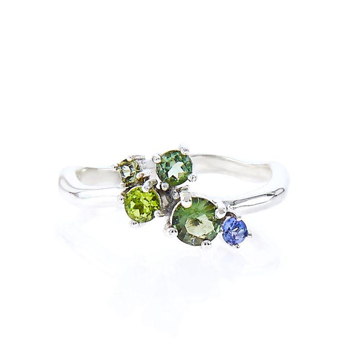 Peridot, moldavite, tanzanite cluster / one of a kind ring