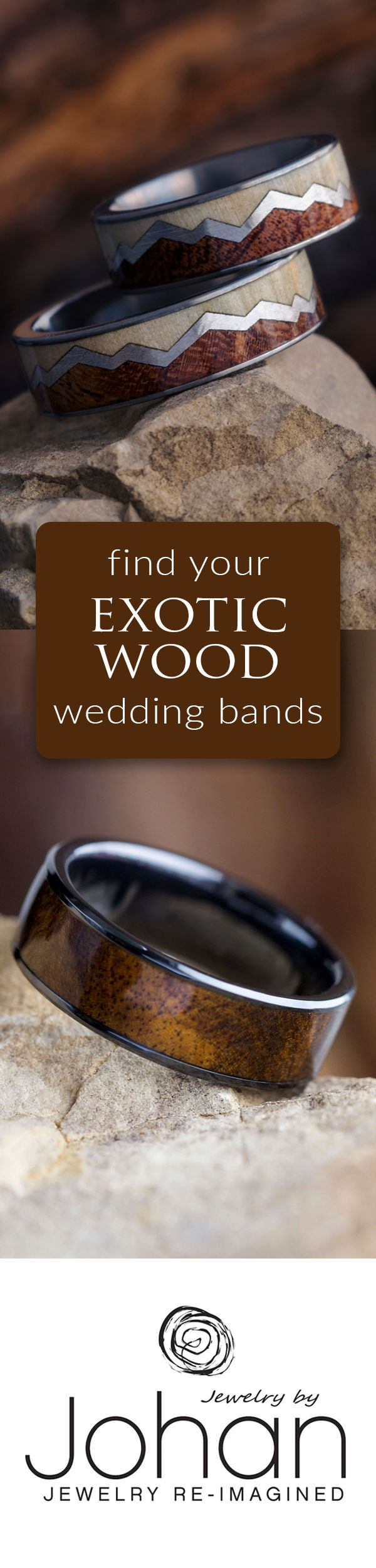 """Wood wedding bands are the perfect way to say """"I do."""" Choose from over 100 exotic wood options for your wood wedding band or wood engagement ring. Our wood rings are handmade and coated for protection!"""