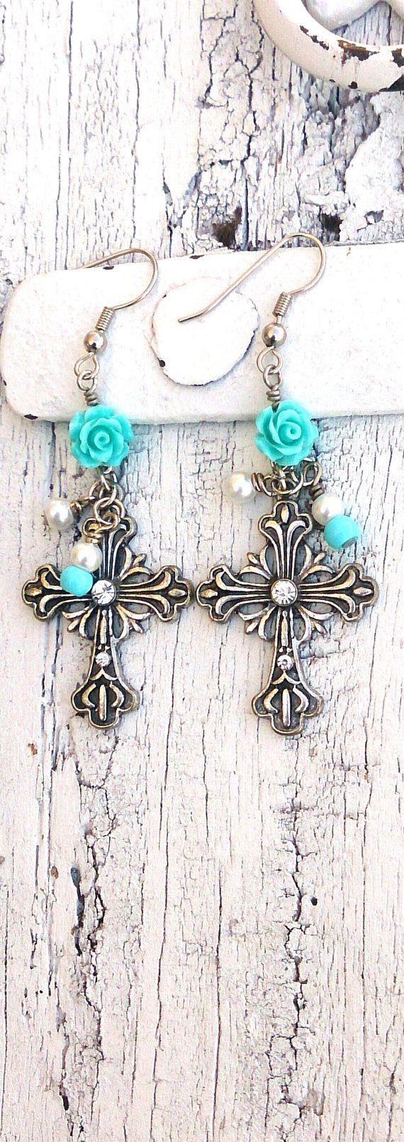 Cross Turquoise Rose Earrings Crystal Cross by SecretStashBoutique