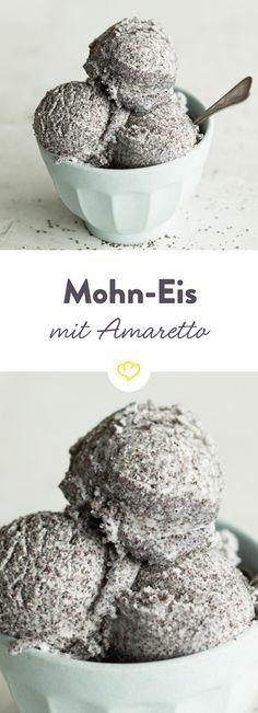 Eine himmlisch-gute Eis-Idee: nussiger Amaretto trifft auf warme Vanille und die feine Bitternote vom Mohn. Und das alles gut verpackt in süßer Eiscreme.