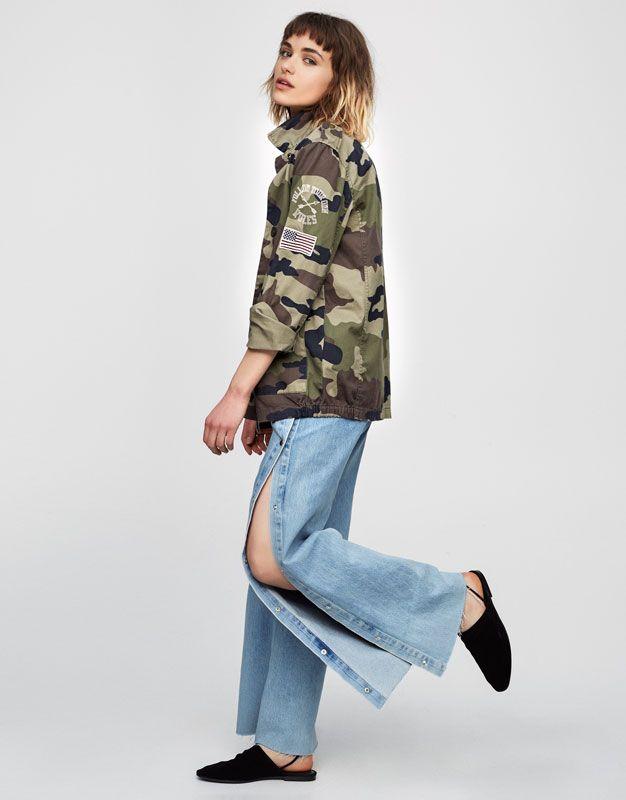 Pull&Bear - woman - clothing - coats and jackets - camouflage jacket - khaki - 05714316-V2017