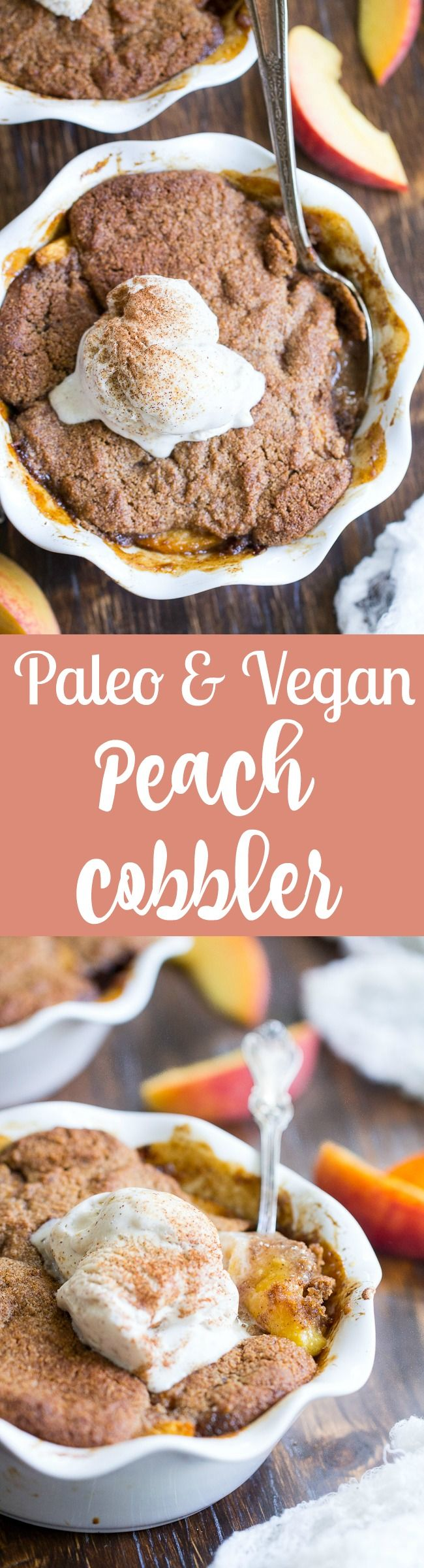 Take advantage of peach season with this paleo and vegan peach cobbler!  It's sweetened with unrefined coconut sugar and spiced with a touch of sweet cinnamon, with a warm and crisp grain-free pastry topping that's downright addicting.  A great gluten free, dairy free dessert for summer!