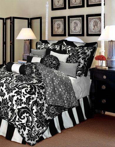 Damask Bedroom Idea Loveeee The Bed Skirt And Mixed Patterns