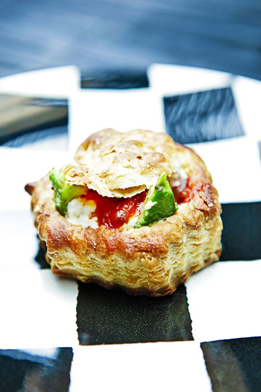 avocado, cream cheese, and salsa puff pastry cups