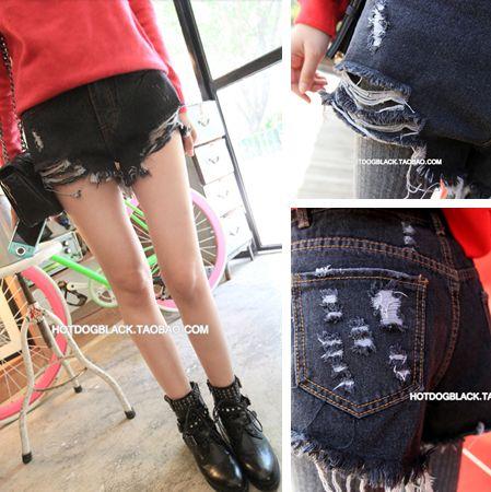 Улице избили Сими дом - сажа ветер сделать старые порванные джинсовые шорты - Taobao