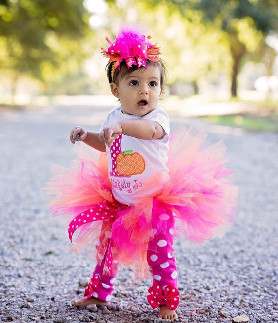 Baby Girl 1st Birthday Outfit  Pumpkin Tutu by ChristiCreations