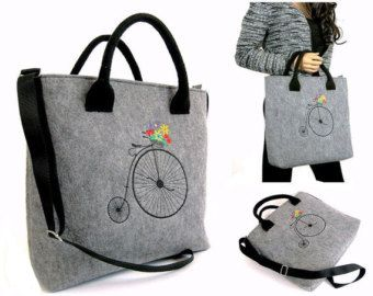 Grey Felt Tote Bag crochet applique leather handles Felt