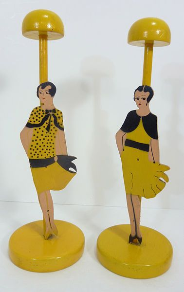 2 Antique Vintage 1920s Flapper Girl wooden HAT STANDS Store Display MILLINERY