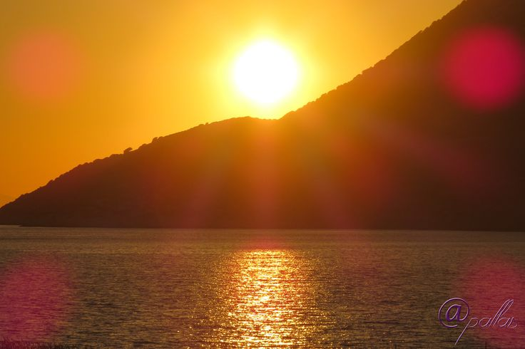 Greece Amorgos. Summer in Greek islands. Aegian sea. Sunset.
