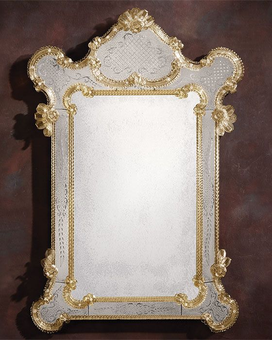 Unique Venetian mirror framed in hand etched antiqued glass with gold highlights trimmed with glass Plan - Simple Elegant venetian glass mirror Top Search
