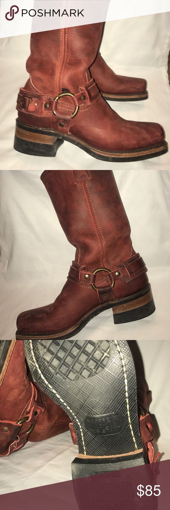 Women's Frye Harness Boots - EUC!!! Women's Frye Harness Boots in EXCELLENT USED CONDITION! These boots are originally $328 on The Frye Company Website. They are a deep red color and have been kept in excellent condition with very few signs of wear! Women's size 7! Frye Shoes