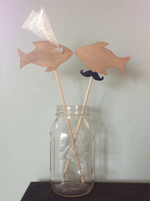 Fish Wedding Cake Topper by OldCityLove on Etsy, $20.00