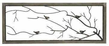 Sterling Industries Ramblewood 39x16 Bird on Branch Metal Wall Panel transitional-prints-and-posters