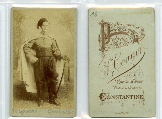 Cougot, Constantine Algérie militaire Vintage albumen carte de visite, CDV, T