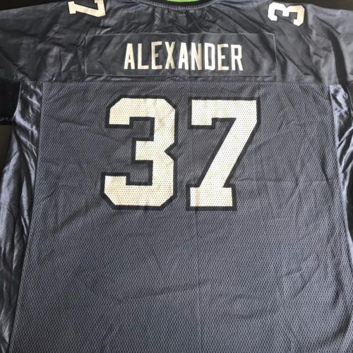NFL-Seahawks-Shaun-Alexander-37-Jersey-Mens-2XL-Reebok-Blue-Football-Shirt-XXL