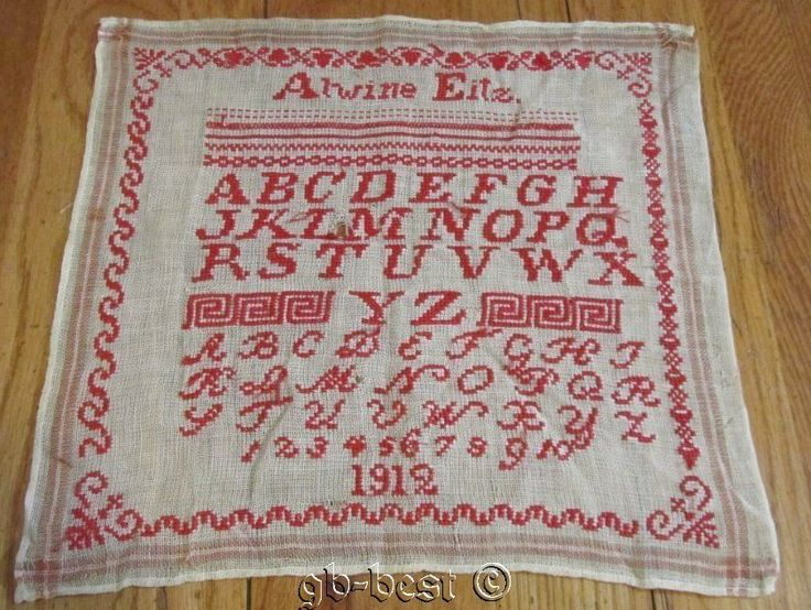 Antique Turkey Red Dated 1912 Sampler Signed Alwine Eitz Pennsylvania
