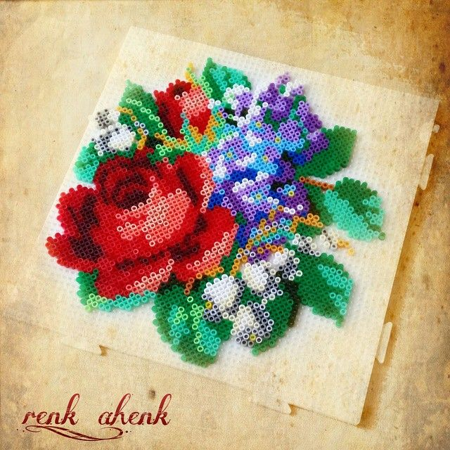 Rose and flowers hama perler beads by renk__ahenk