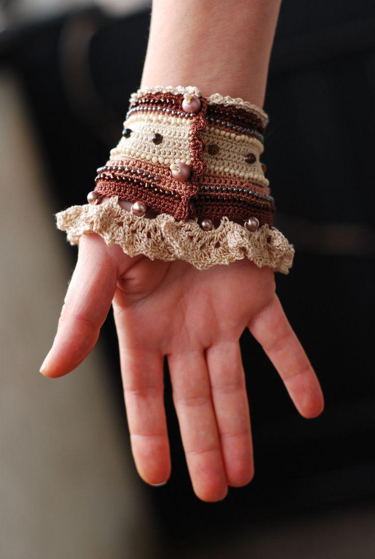 Handmade crochet bracelet cuff. Brown Beige Creme Cappuchino bracelet. Glass…