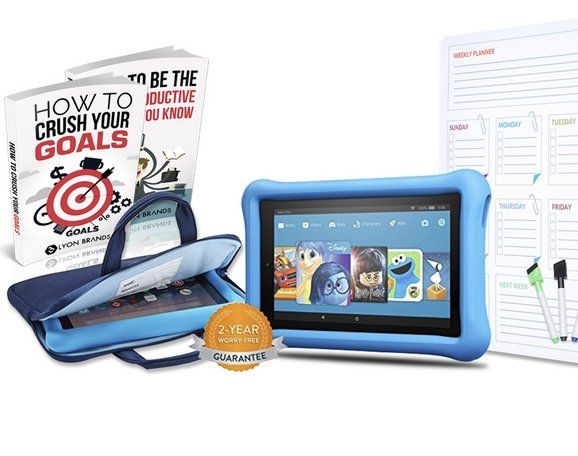 """Enter now to win an Amazon Fire 7 kids tablet worth $185.00. Full-featured Fire 7 tablet with a 7"""" IPS display, 16 GB internal storage, and up to 8 hours of mixed-use battery life."""
