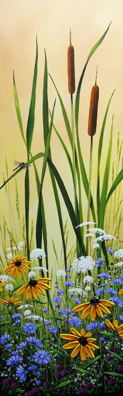 """""""Cattails and Lace"""", Acrylic on Canvas, 36x12"""", by Jordan Hicks from Crescent Hill Gallery in Mississauga, ON"""