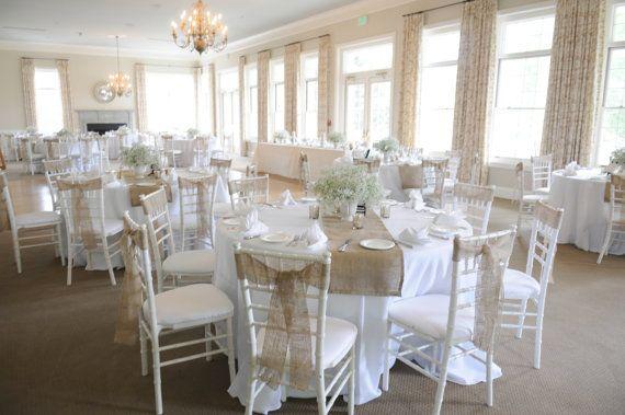 25 Sewn Burlap Chair Sashes Rustic Wedding Chair Decoration