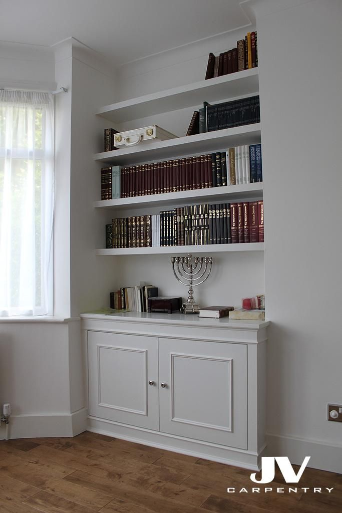 Fitted alcove bookcase Hendon
