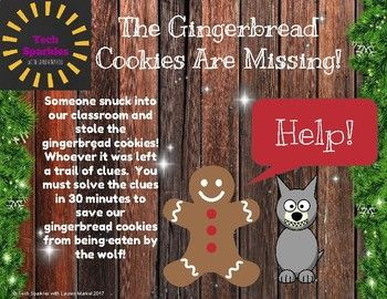 The Gingerbread cookies are missing and the wolf will be back in 45 minutes! This Escape Room activity is great for team building and reviewing content. The game includes addition up to 10, rhyming words, counting, skip counting, and graphing! Physical Locks Needed: 3 digit lock 4 digit lock Word Lock Directional Lock Padlock and Key