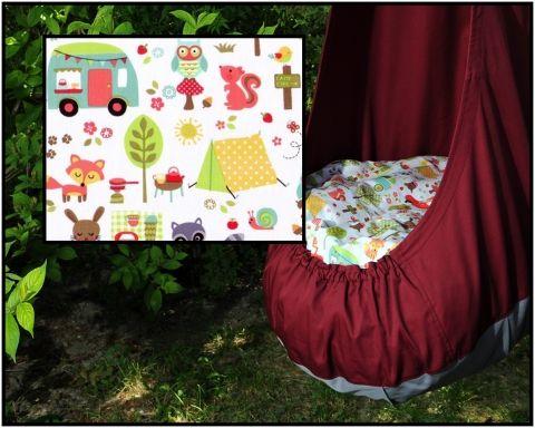 GitaMom PREMIUM csepphinta designer dekor anyaggal (camp out), Baba-mama-gyerek, Játék, Készségfejlesztő játék, Meska/ drop-swing for babys and kids- to play, relax and intellectualize, Meska.hu