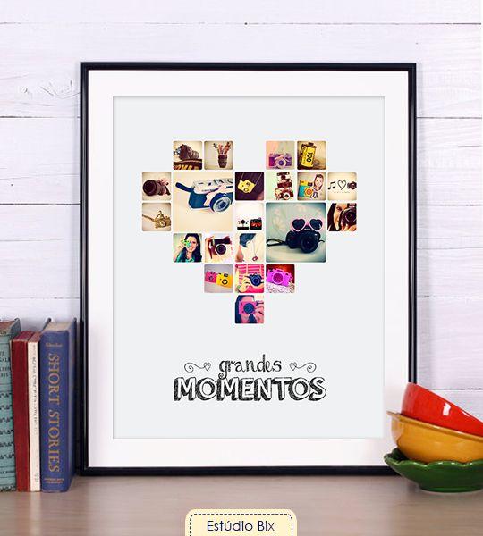 Poster Grandes Momentos - decoração, poster, quadro, instagram, personalizado, coração, fotos, memórias, lembranças
