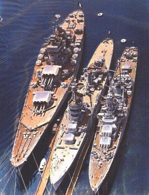 Jean Bart alongside cruisers Suffren and Montcalm, 1950s