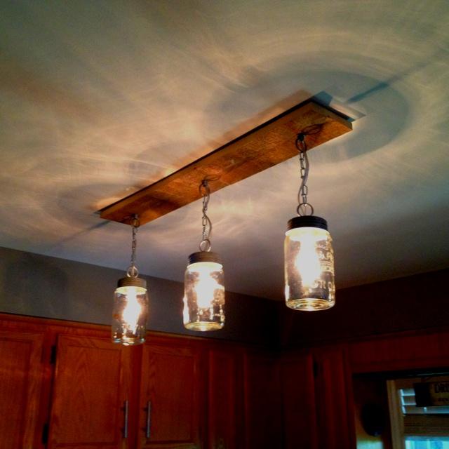 Mason jar and barn board lights