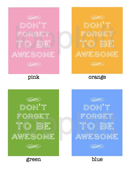 art print. nursery art. child's room decor. don't forget to be awesome.
